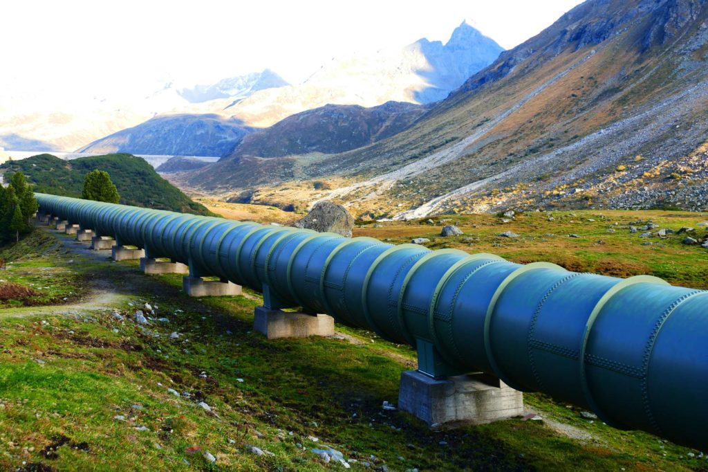 large pipeline in a mountain range
